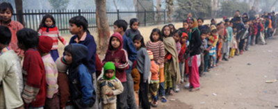 Poor Indian children and their families