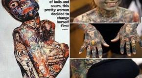 Julia Gnuse, costretta da una rara malattia a tatuarsi tutto il corpo